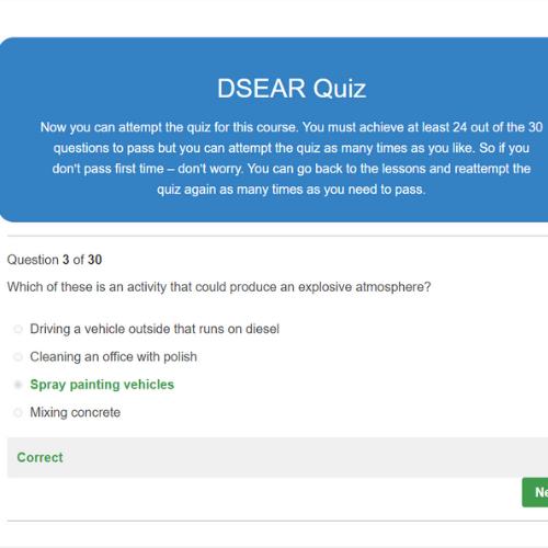 DSEAR Course Quiz Question