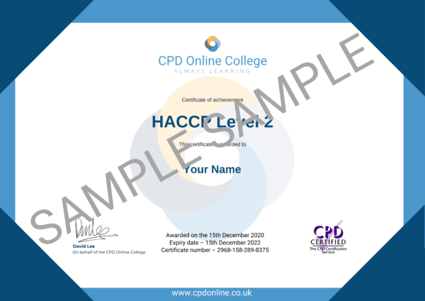 HACCP Level 2 CPD Certificate
