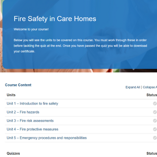 Fire Safety in Care Homes Course Overview