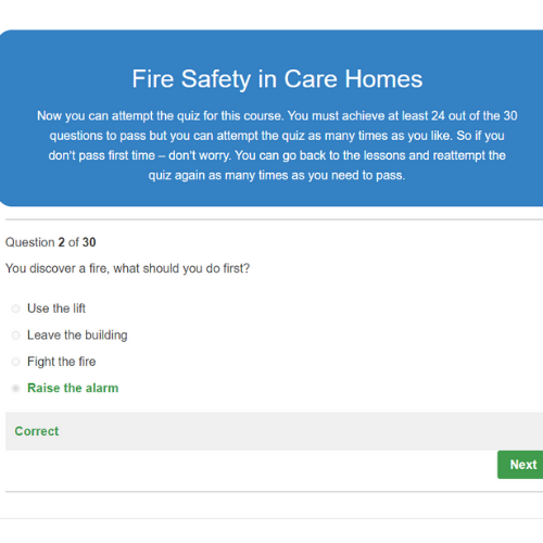 Fire Safety in Care Homes Quiz Question