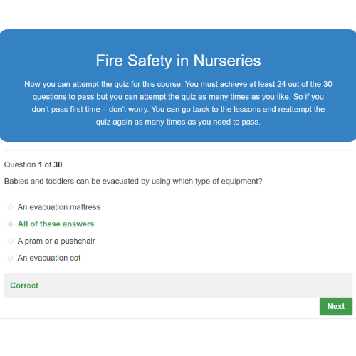 Fire Safety in Nurseries Quiz Questions