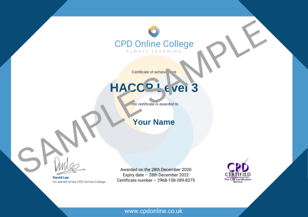 HACCP Level 3 CPD Certificate