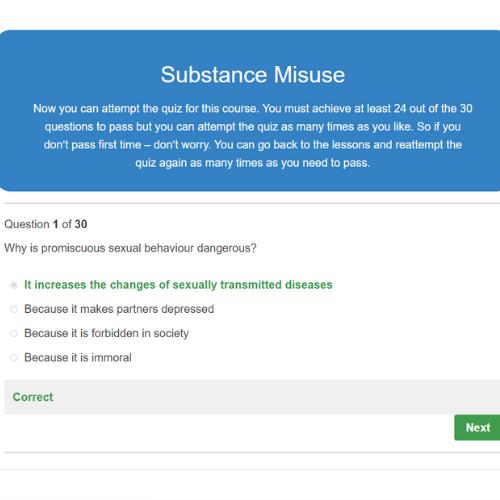 Substance Misuse Quiz Question
