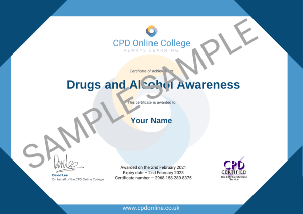 Drugs and Alcohol Awareness CPD Certificate
