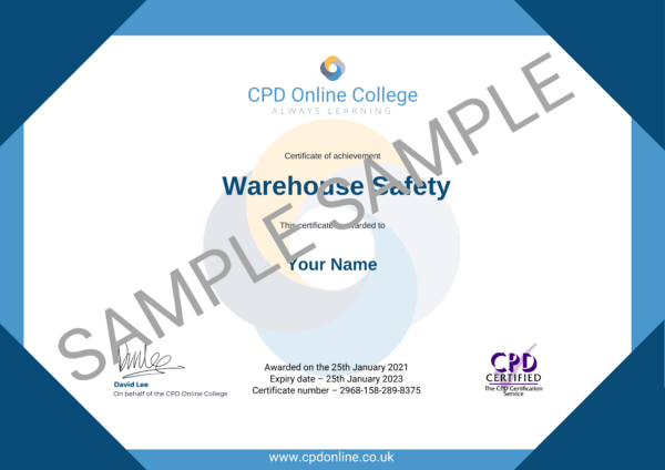 Warehouse Safety CPD Certificate