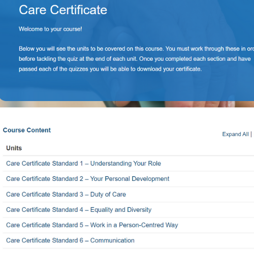 Care Certificate Unit Overview