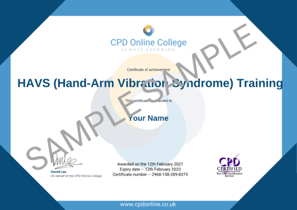 HAVS (Hand-Arm Vibration Syndrome) Training CPD Online College Certificate