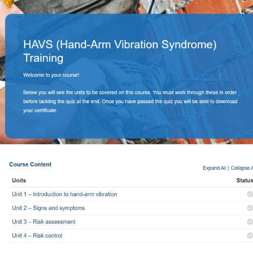 HAVS (Hand-Arm Vibration Syndrome) Training Course Overview