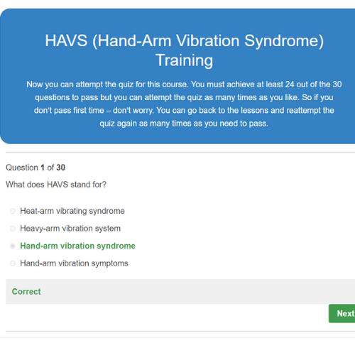 HAVS (Hand-Arm Vibration Syndrome) Training Quiz Question