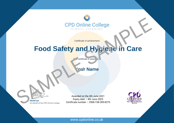 Food Safety and Hygiene in Care CPD Certificate