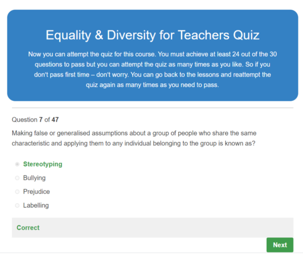 Equality and Diversity for Teachers Quiz Question