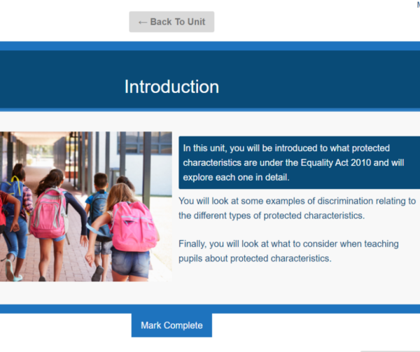 Equality and Diversity for Teachers Unit Slide