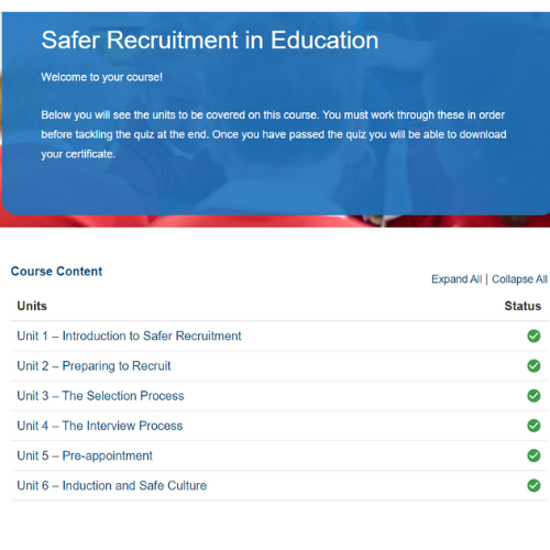 Safer Recruitment in Education Course Overview
