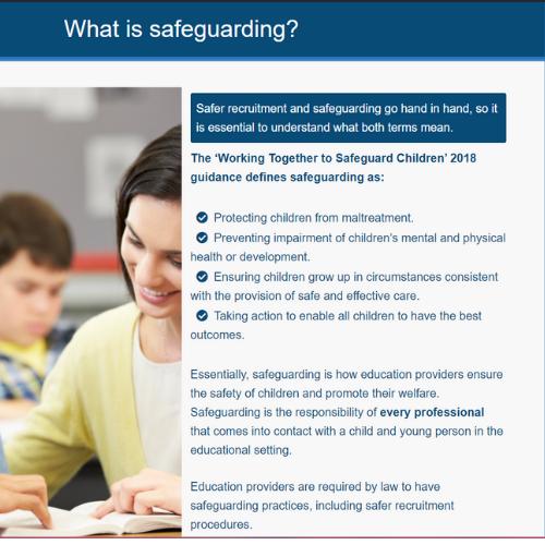 Safer Recruitment in Education Unit Slide