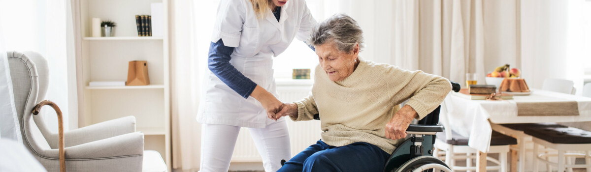 A woman requiring assistance in the care home